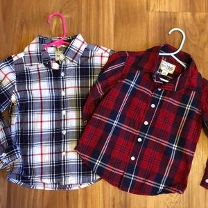 Two Children's Place Cotton Plaid Shirts 3T